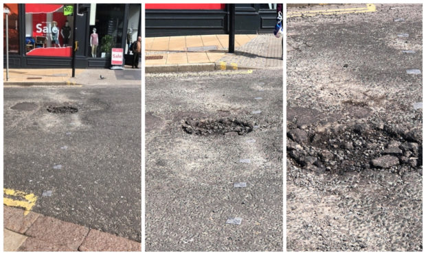 """The 'massive pothole"""" at the junction of Commercial Street and the Seagate"""
