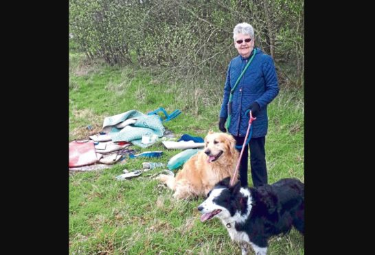 Dorothy McHugh at the site of the fly-tipping.