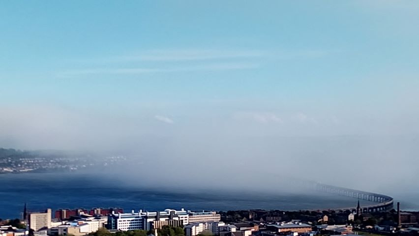 Plumes of smoke visible from Dundee.