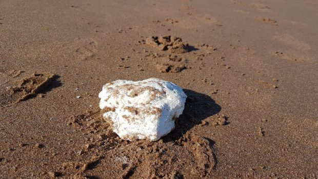 The palm oil washed up in Arbroath.