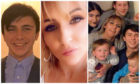 Reece, left, his mum Samantha, middle, and their extended family, right.