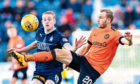 Zak Rudden in action for Falkirk against Dundee United last season