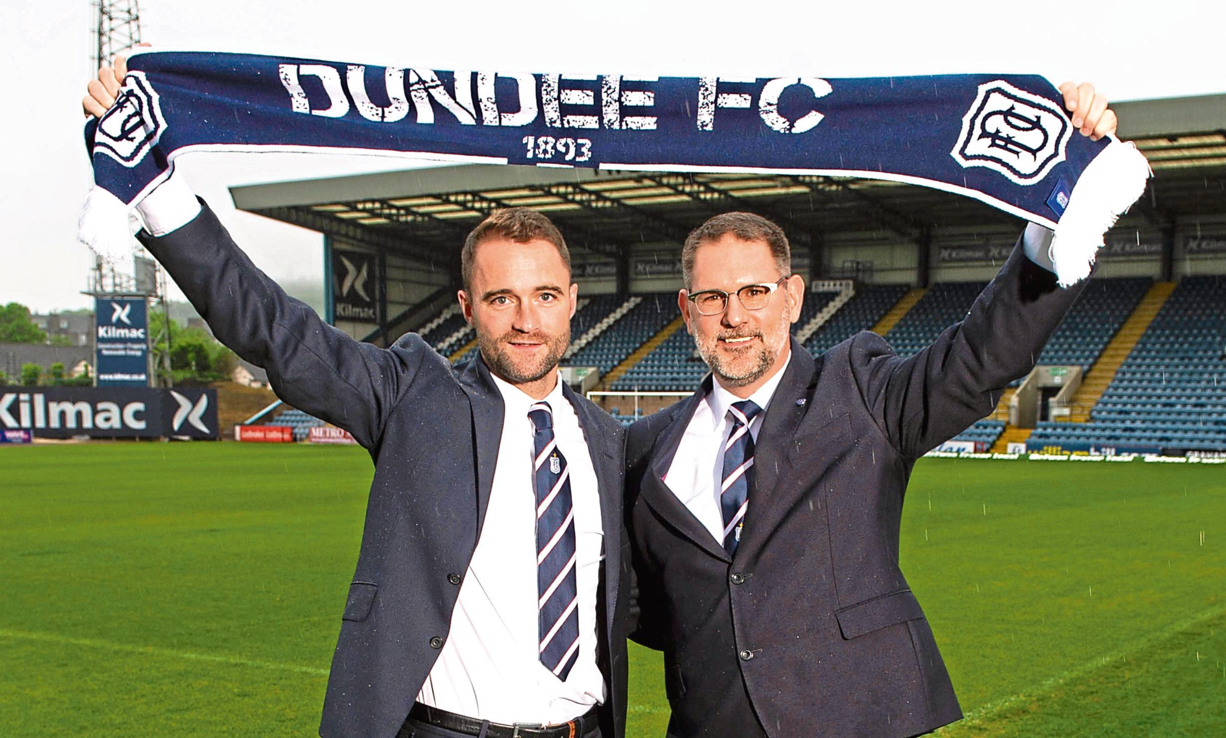 Dundee boss James McPake and managing director John Nelms.