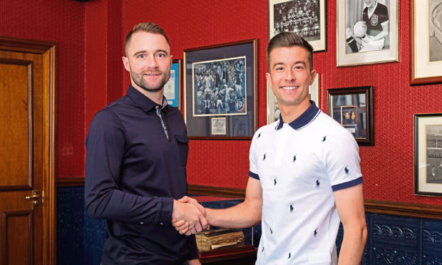 Dundee manager James McPake and defender Cammy Kerr.