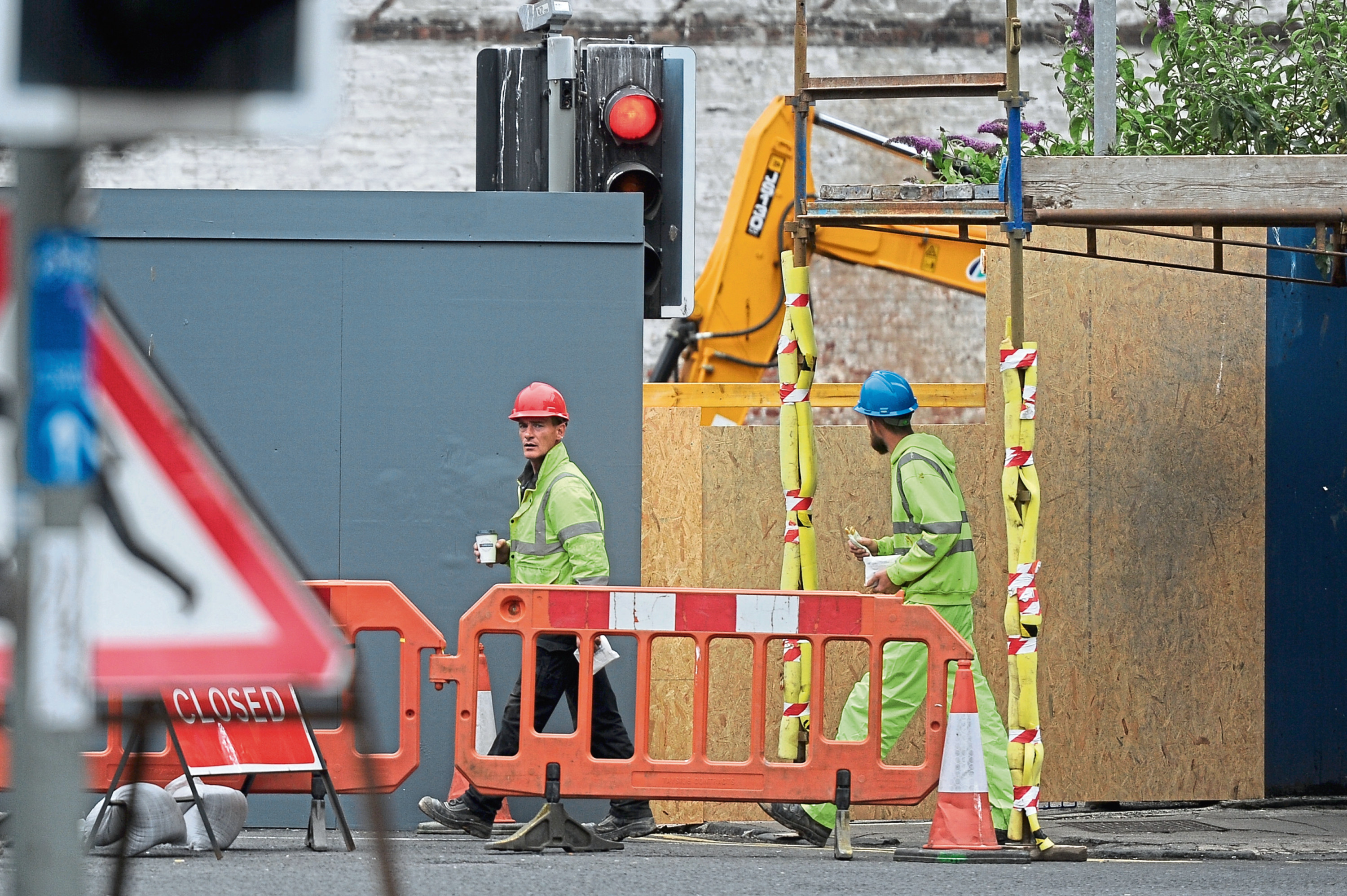 Workers at Seagate,at the top of Trades Lane.