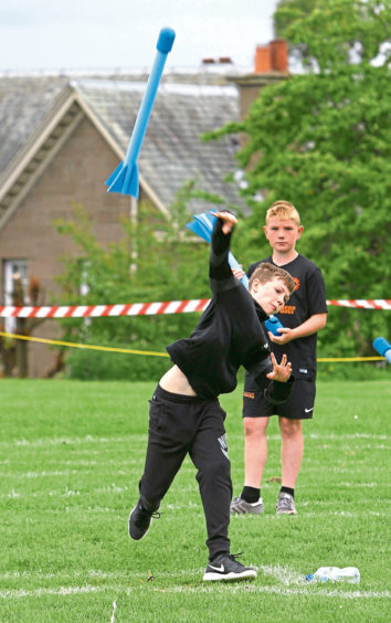 Josh Smith, Forthill PS, throwing the javelin.