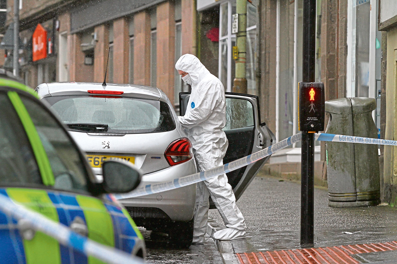 Police on the scene in Brechin.