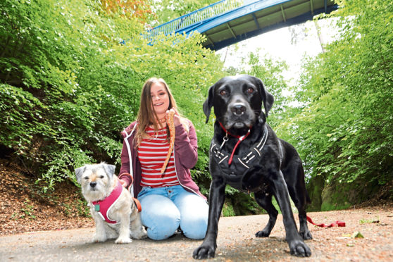 Bethany Reid from Lochee walking her dogs Pippin & Freya and snake Citrus.