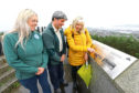 Cllr Anne Rendall, right, with Colin Donald and Laura Jane Blackie, who illustrated the plaques.
