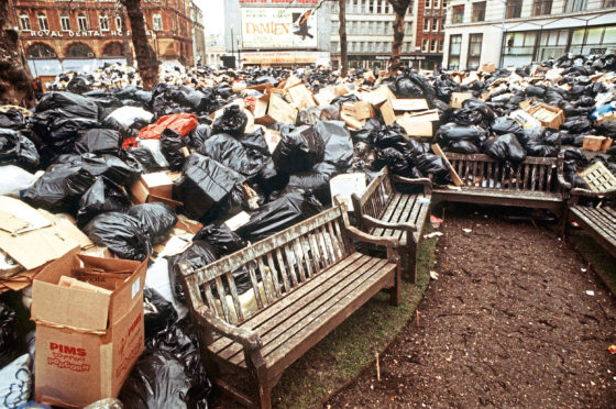 Mountains of rubbish bags deface Leicester Square in central London, due to a strike by council manual workers.