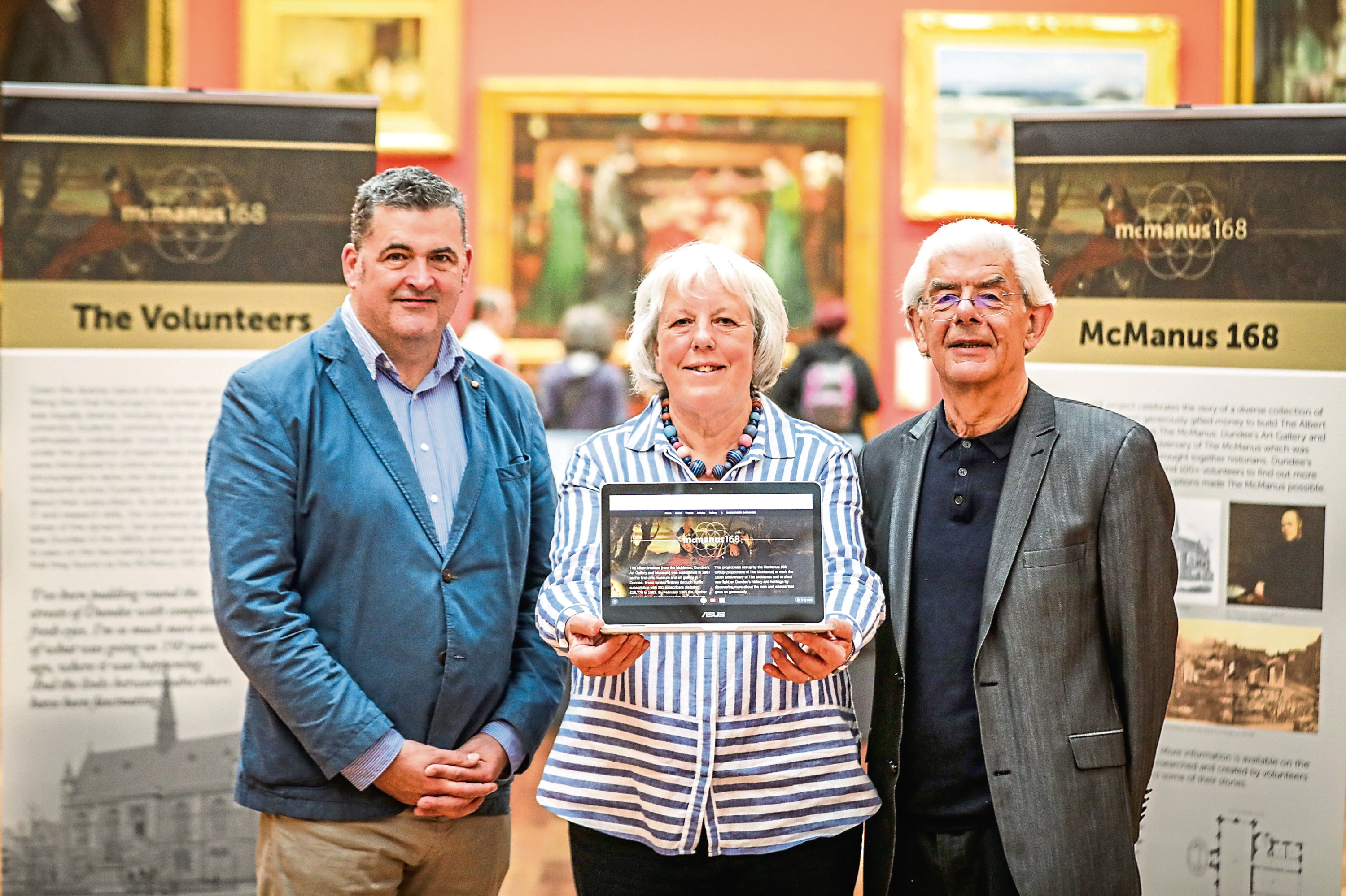 From left: Billy Gartley, Head of Cultural Services at Leisure & Culture Dundee, Sandra Charles, volunteer, and Prof Chris Whatley.
