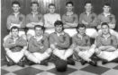 Lochee Harp football team.  Back row (from left) - Ian Robb, Harry Smith, Billy McGann, Kiness Christie, Ron Cargill, Unknown (possibly Gilmour).  Front row - Shug Reilly, Harry Fleming, Dave Spence, Jim McCafferty, Jimmy Coyle.