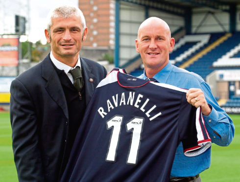Jim Duffy (right) shocked Scottish football with the signing of Ravanelli.