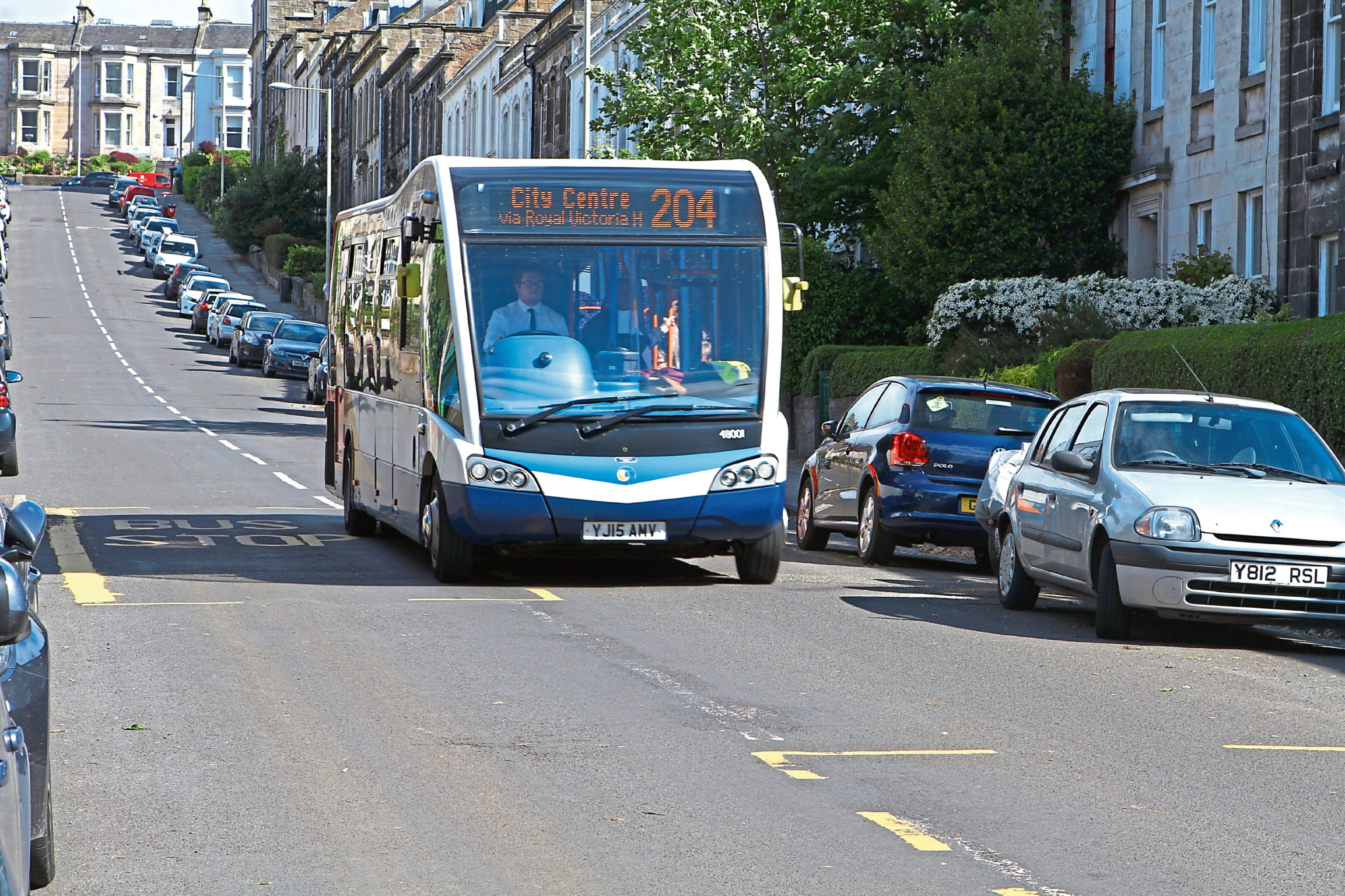 The 204 bus, in Windsor Street, Dundee.