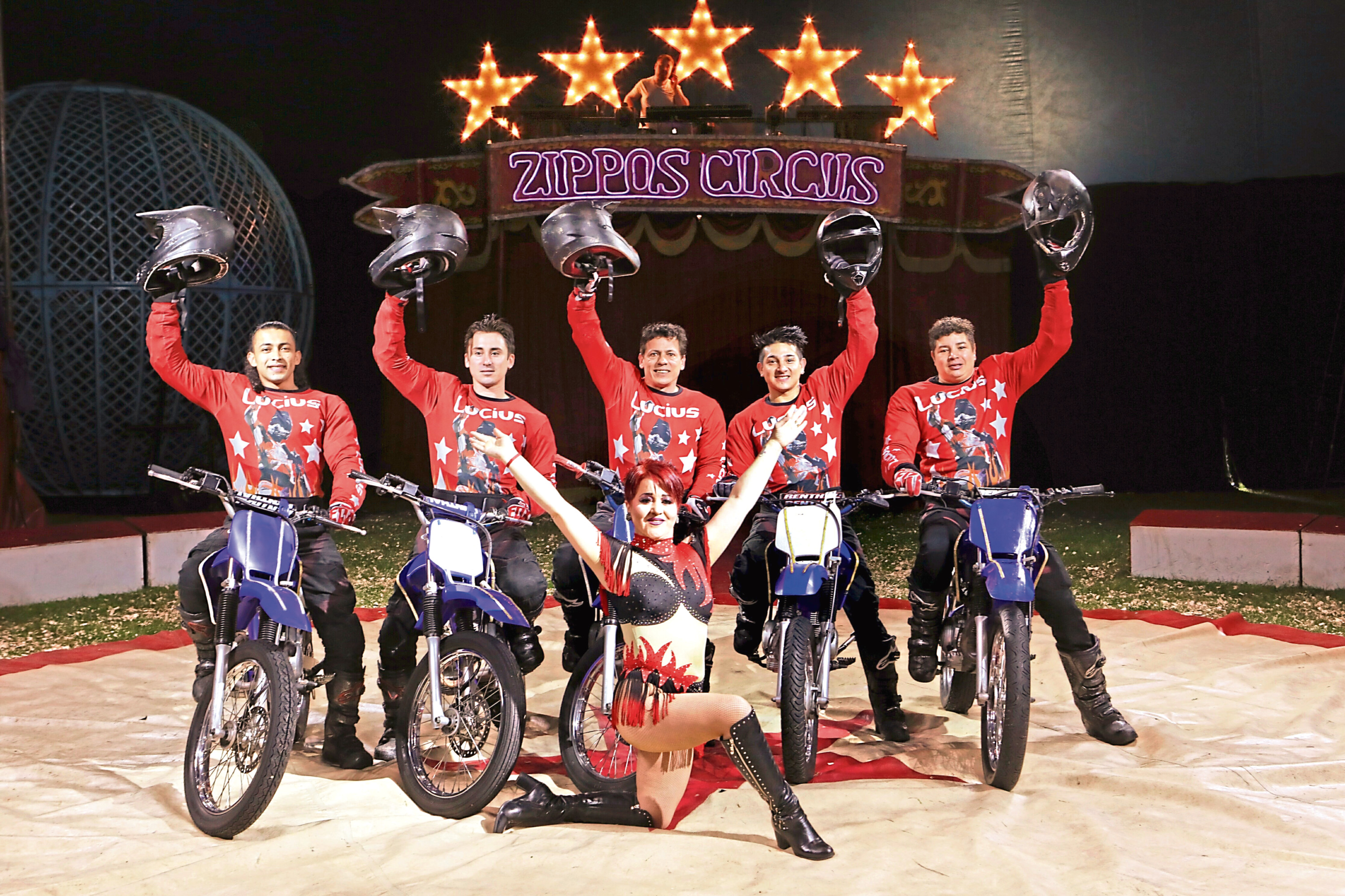 The Lucius team of motorcyclists who will be thrilling audiences in the Globe of Death.