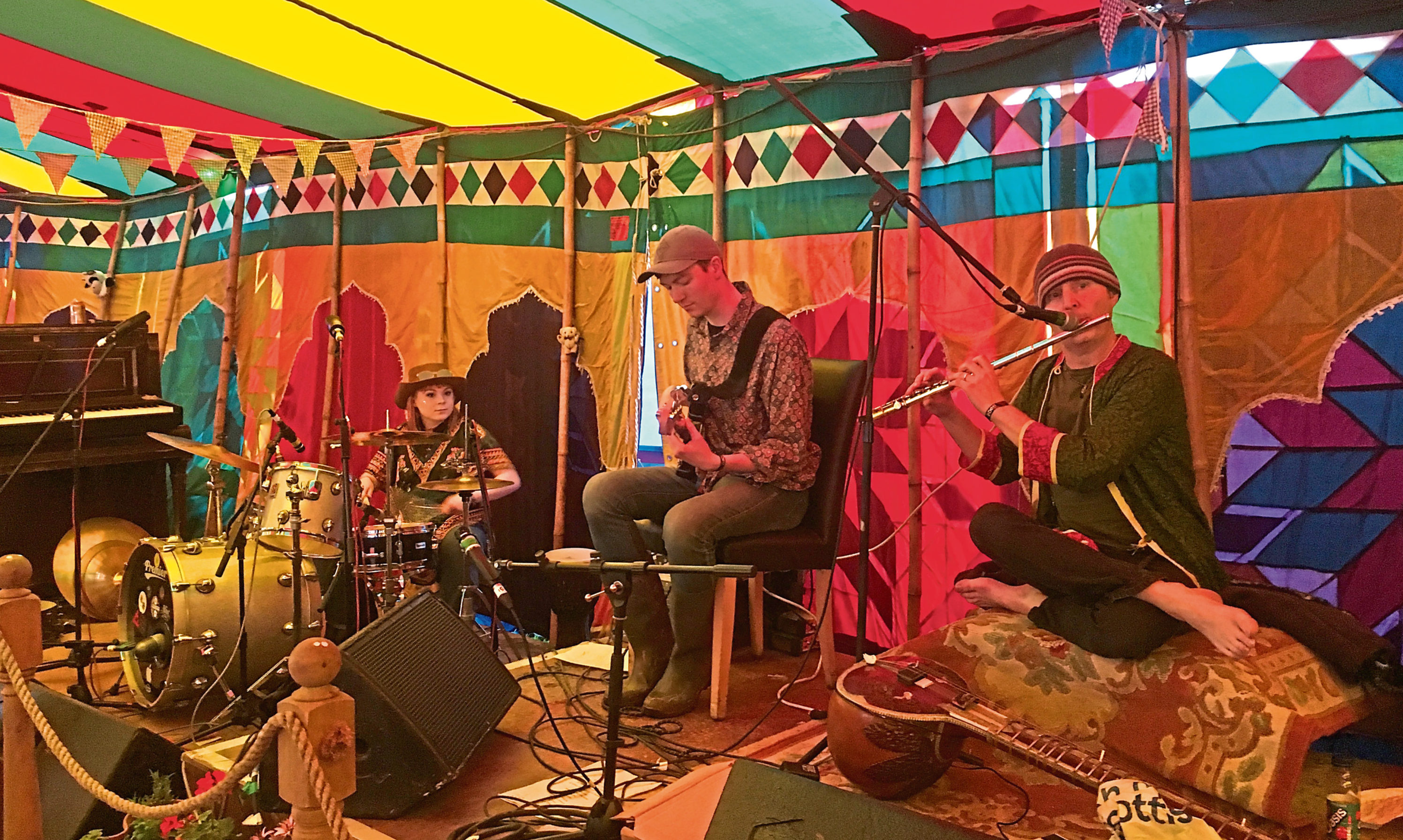The 3rd Eye Flute Band performing live.