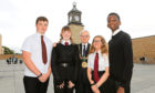 Harris Academy pupils Innes Taylor, Rebecca Moore, Maisie Urch and Donell Shamuyarira, all aged 14,  with Lord Provost Ian Borthwick.