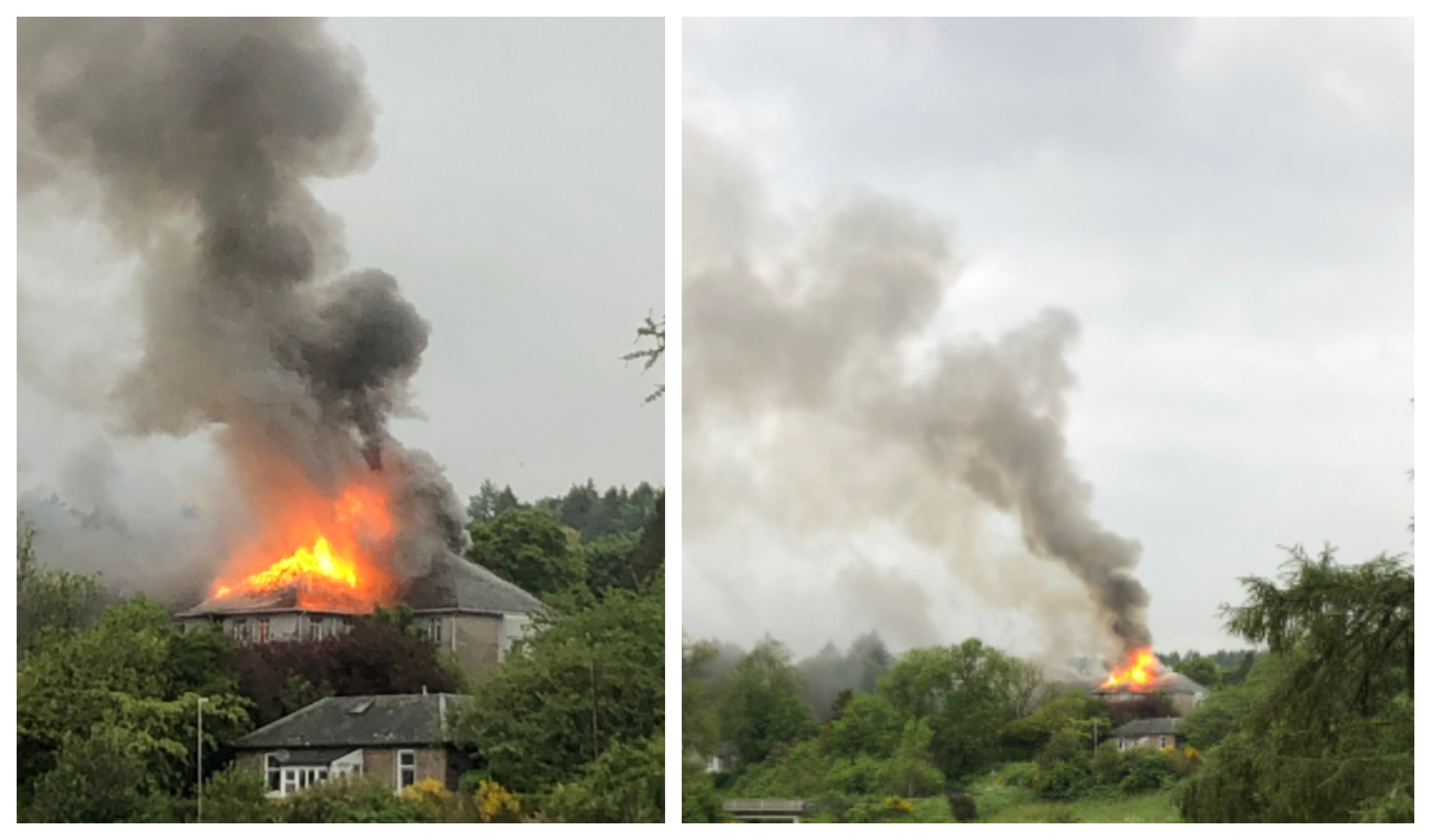 Photos show the fire burning.
