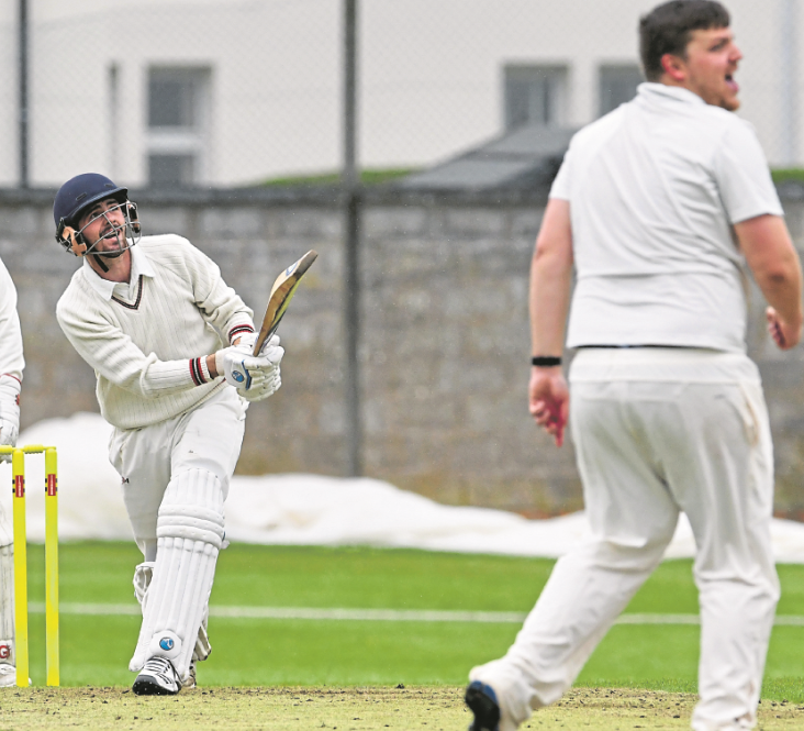 Forfarshire's overseas amateur Bryce Allchin hits out during his National League debut against Aberdeenshire at Forthill.