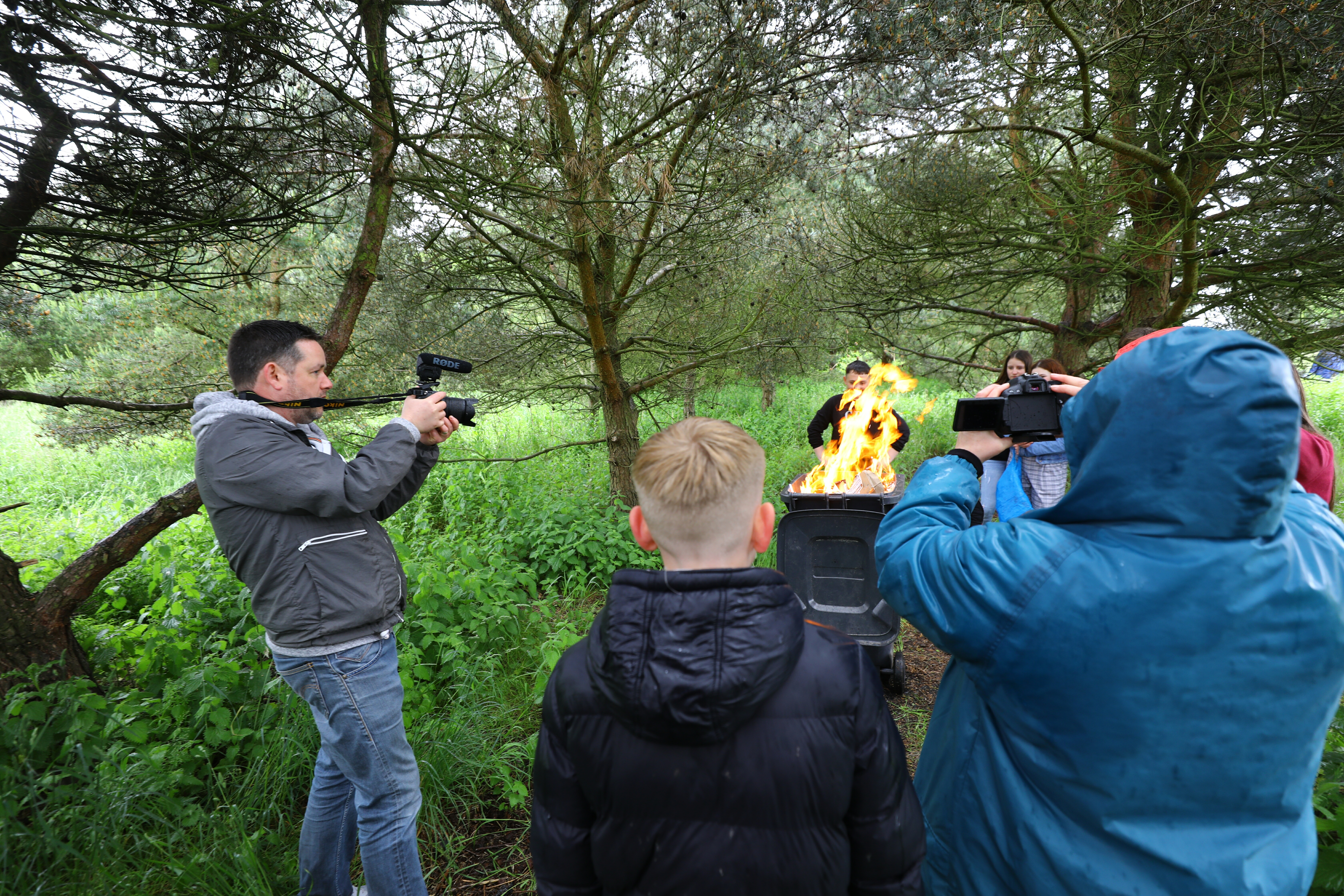 Constable Andy Hutton filming the pupils from Braeview Academy.