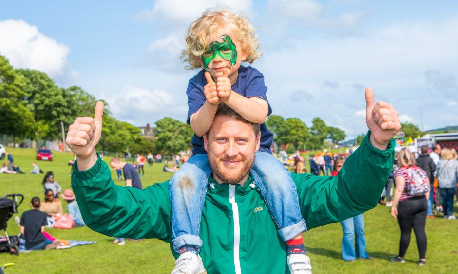 Mark Ferguson with son Brodie Fergsuon (aged 4) from Lochee.