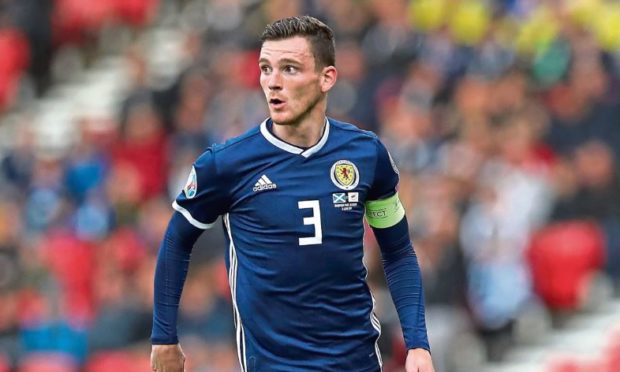 Andy Robertson in action for Scotland.