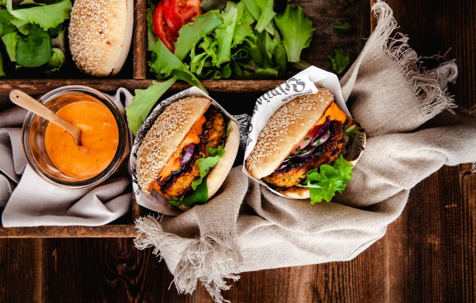 A courgette, sweet potato and chick pea veggie burger.
