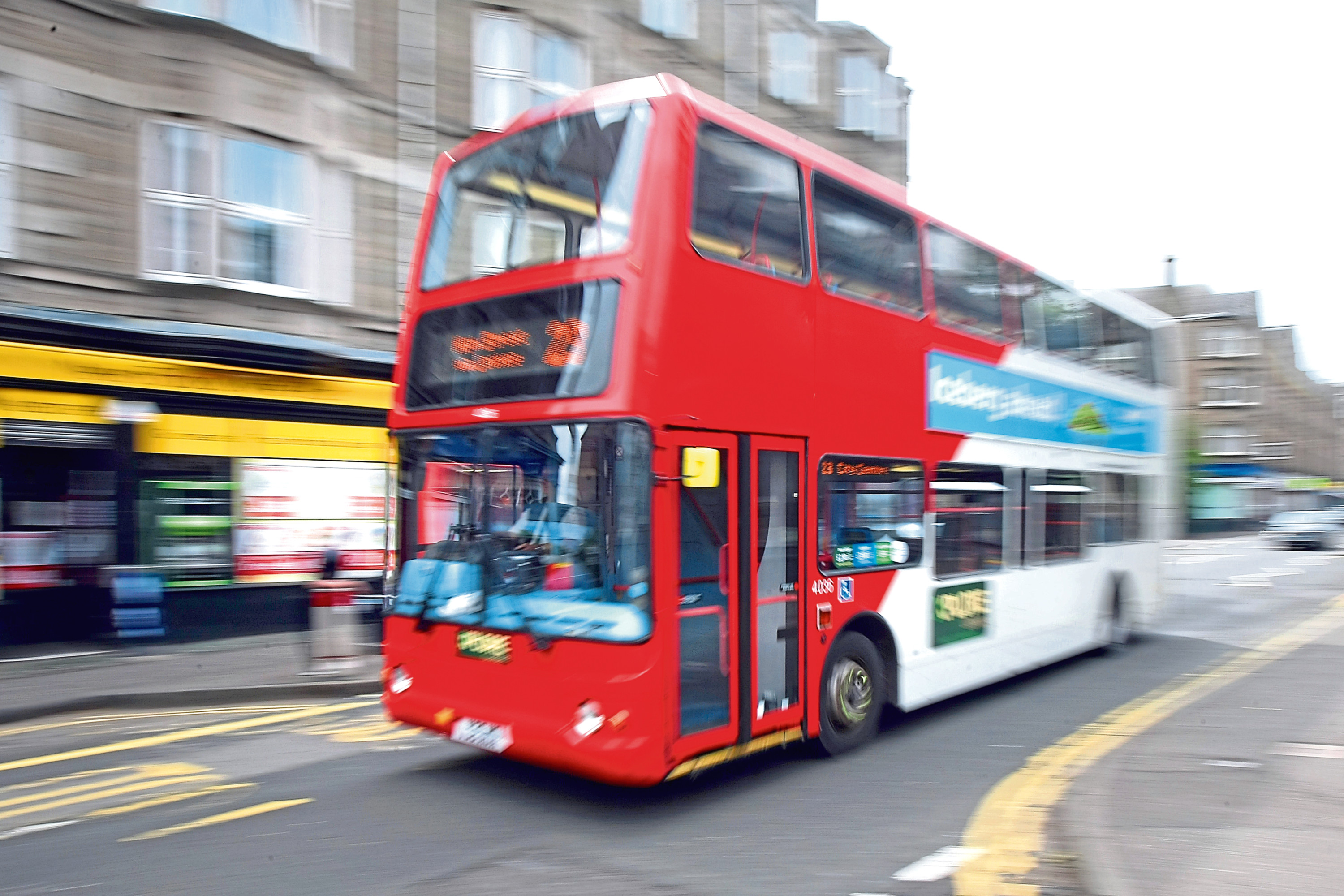 A bus in Dundee city centre.