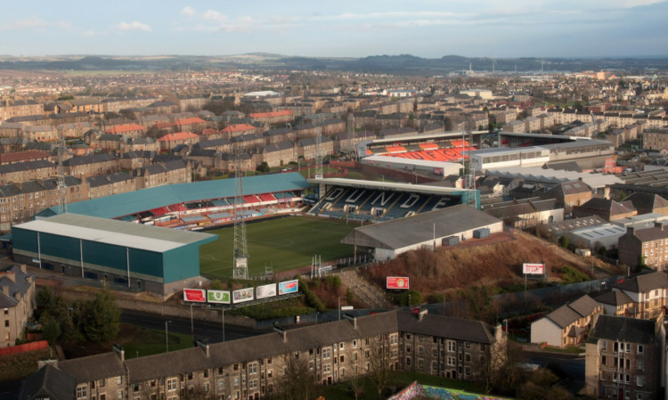 Dens Park and Tannadice, the closest two professional football grounds in Europe.