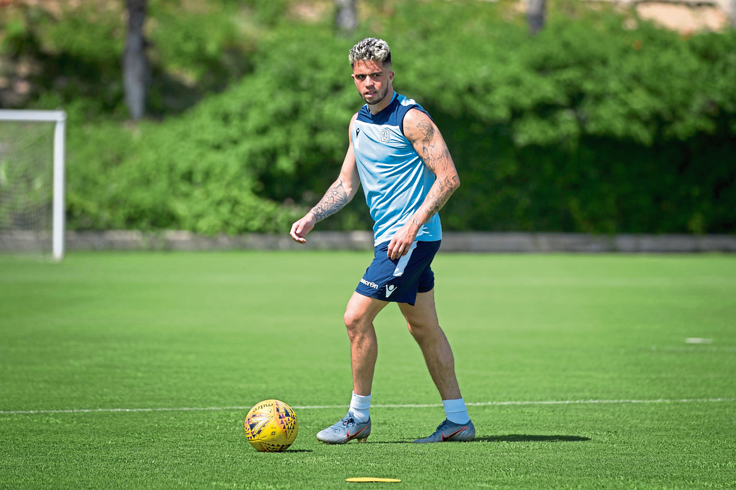 Declan McDaid during day one of Dundee FC pre-season training camp on the Costa Blanca.