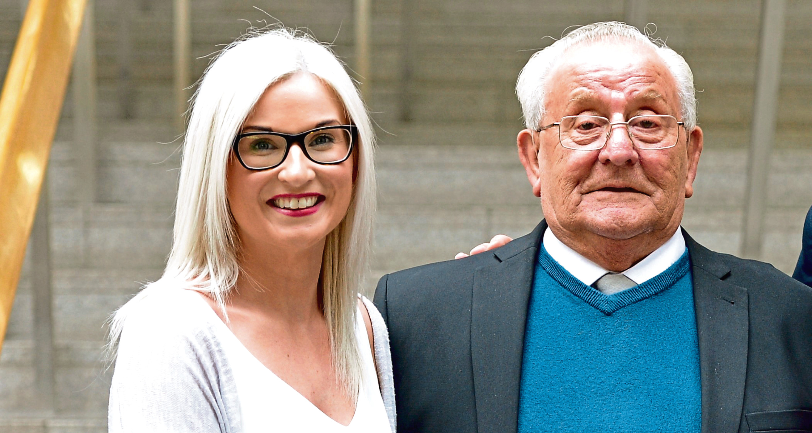 Gilly Murray with David Ramsay Snr - the niece and father of suicide victim David Ramsay Jnr.