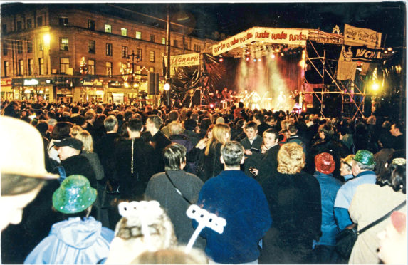 Hogmanay celebrations in Dundee welcoming the new millennium.