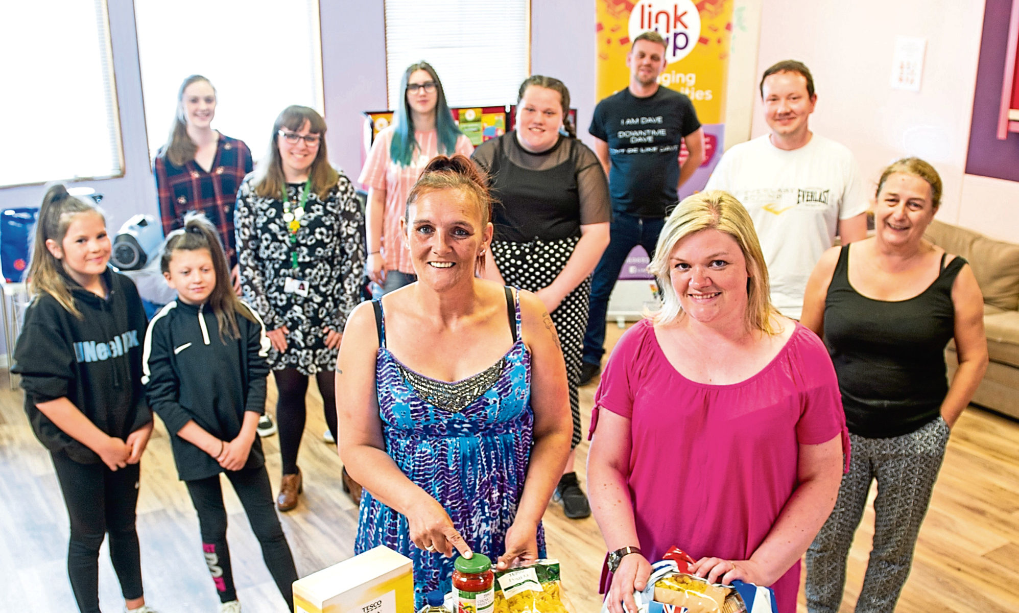 Some of the Community Larder volunteers with Tammie Brown, drop In volunteer and Gill Bain Link Up manager, front.