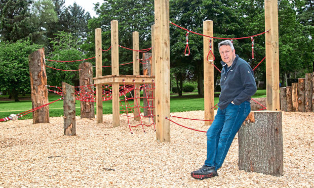 Councillor Angus Forbes at the new play area in the Memorial Park, in Invergowrie.