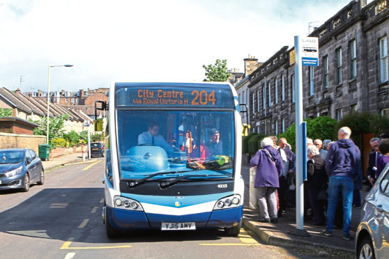 The 204 bus, in Windsor Street, in Dundee today.