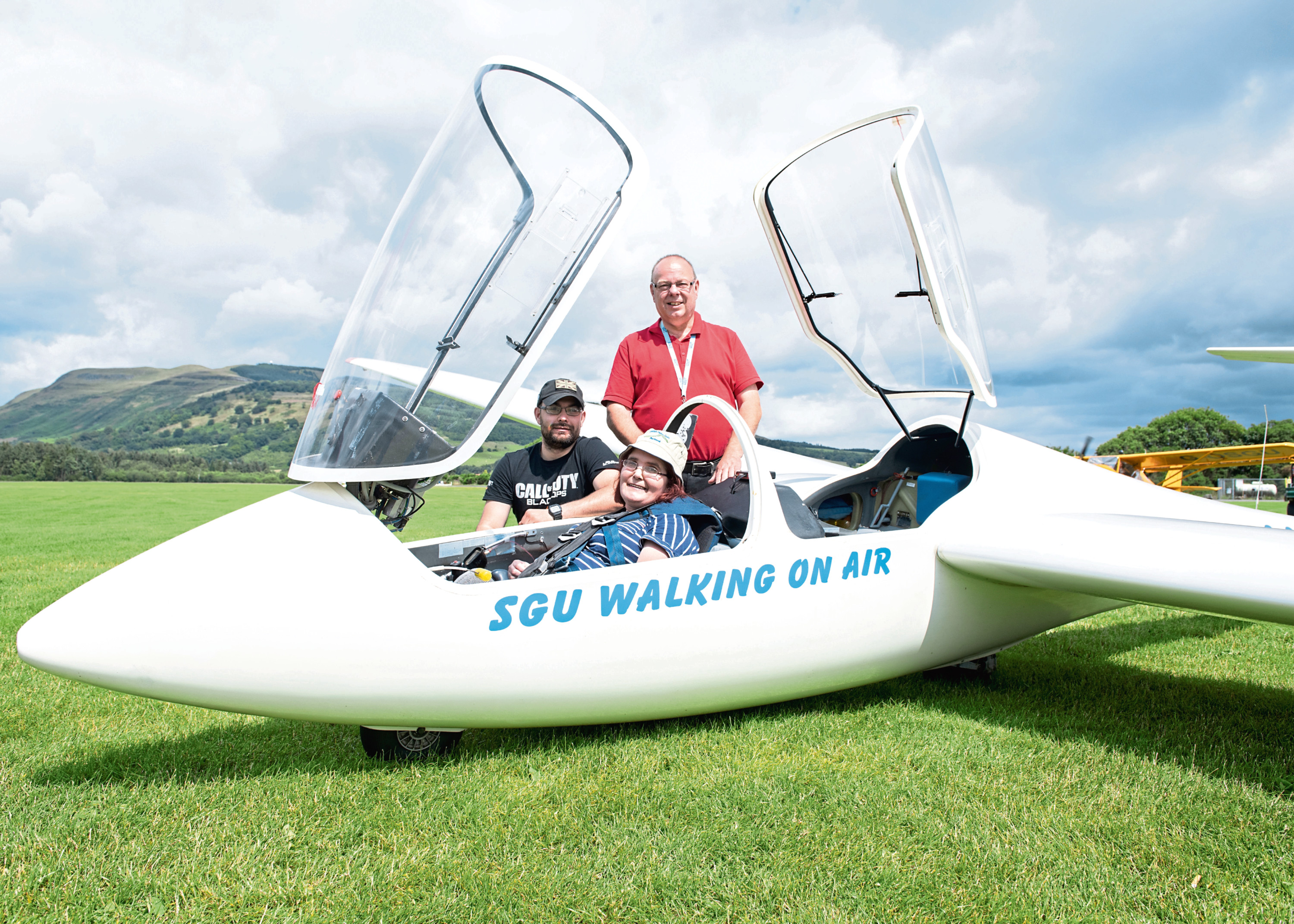 Angie Wilkinson, 56, took to the skies in a glider on Friday.