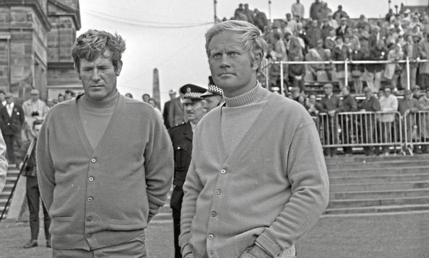 Doug Sanders and Jack Nicklaus at the Open, St Andrews, 1970.