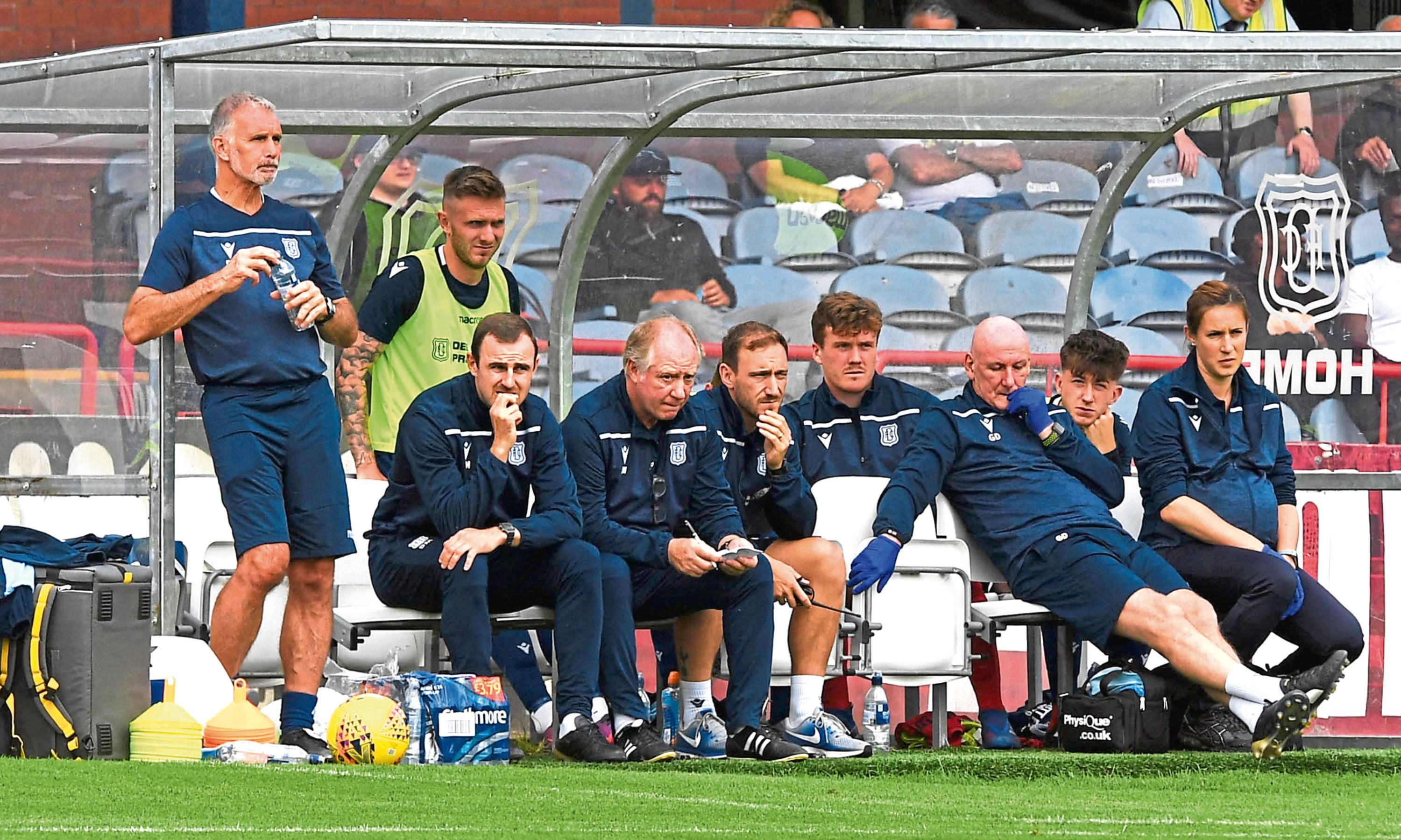 The Dundee dugout on Saturday.