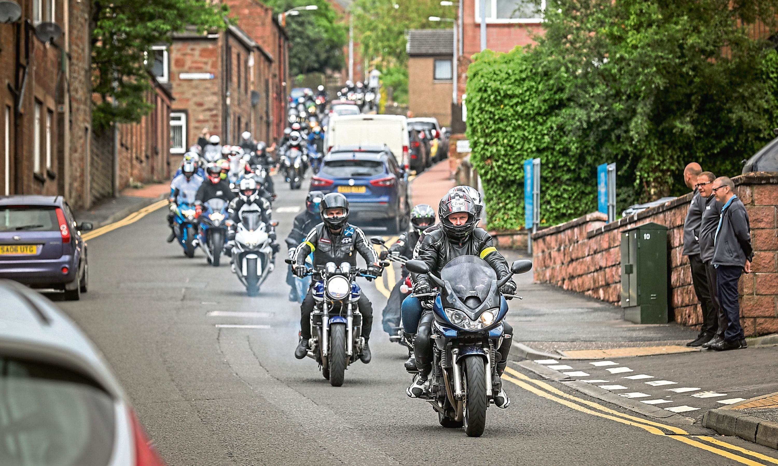 Hundreds of bikers, Steven's family and friends turned out for the memorial event.
