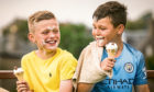 Best friends Calvin Jamieson and Caleb Dobson, both 10, from Fintry, enjoying an ice cream.