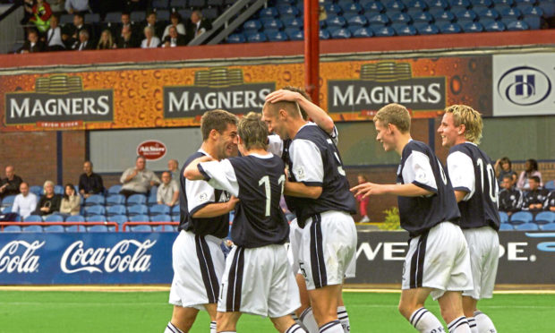 Action from the Dundee v St  Mirren game at Dens Park on Saturday.
