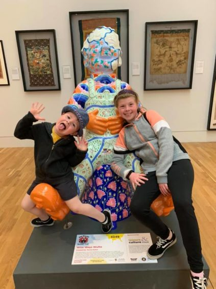 Alix, 9, and Liam, 3, love hunting for Oor Wullie.
