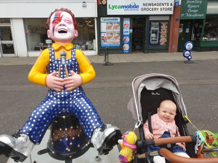 Aria Morrison, 10 months, in Glasgow with Oor Ziggy.