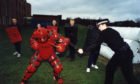 Police try out body armour in Dundee in 1996.
