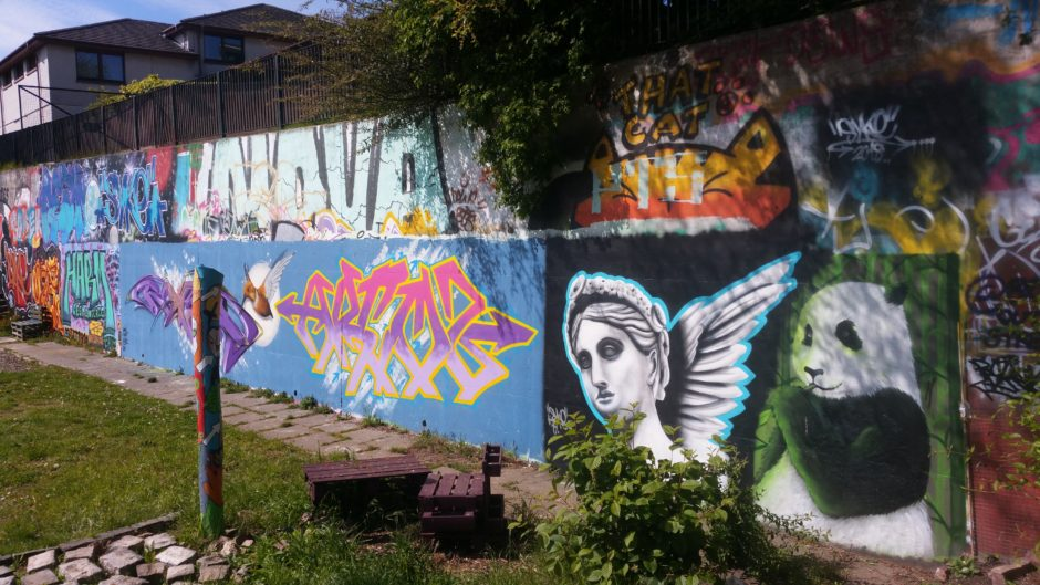 Graffiti art at Tayview Community Garden, by Syke, Paco Graff and others