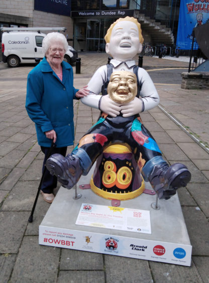 Great-granny Mary Garvie, 93, from Dundee enjoying meeting Wullie at the Rep.