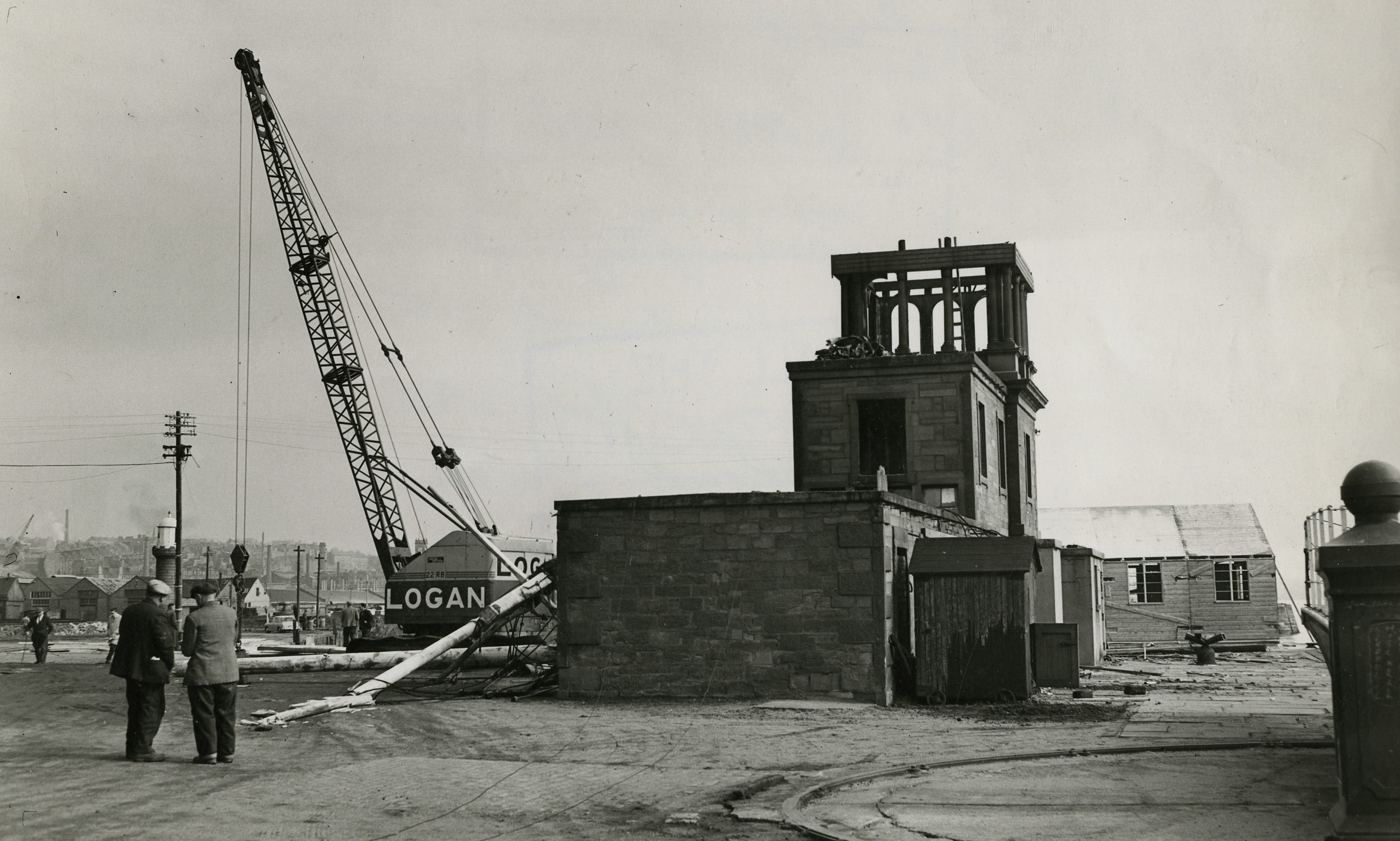 The Dock Gate House at Earl Grey Dock being demolished to make way for the Tay Road bridge.