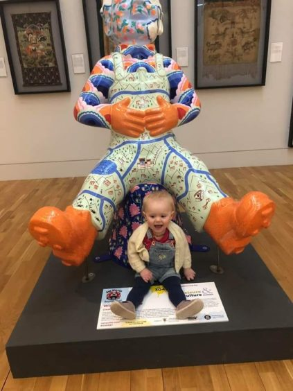 Summer Anderson, aged 1, from Dundee, at the McManus Galleries.