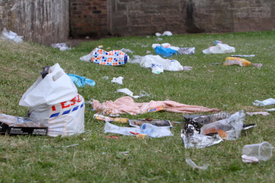Tayside has similar problems, with this picture showing mess left behind at Broughty Ferry Castle and beach last summer.