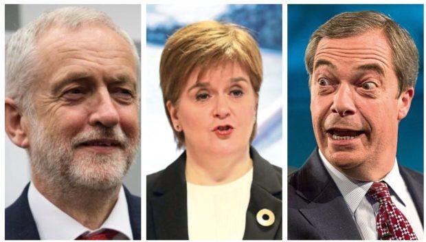 Jeremy Corbyn, Nicola Sturgeon and Nigel Farage.
